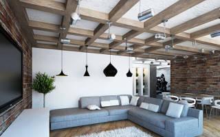 Натяжной потолок в стиле лофт