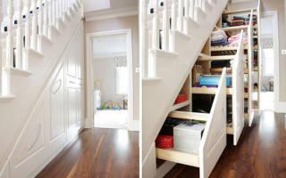 Шкафы под лестницей в прихожей
