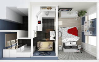 Дизайн комнаты 22 кв м фото
