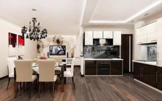 Кухня гостиная 30 кв м дизайн фото