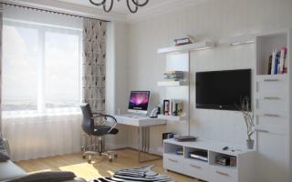 Гостиная кабинет в одной комнате