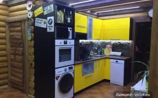 Кухня в доме из оцилиндрованного бревна фото