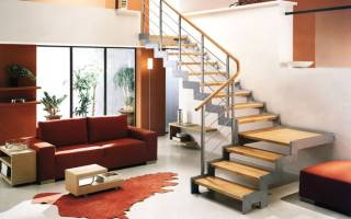 Двухмаршевая лестница с площадкой фото