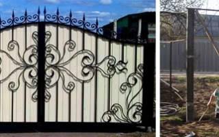 Фото ворот из профнастила с элементами ковки