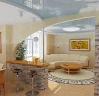 Барные стойки в интерьере гостиной вместо перегородки