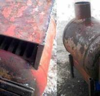 Печь из газового баллона на дровах