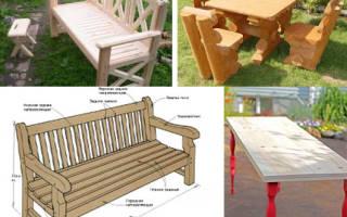 Чертежи садовой мебели из дерева с размерами