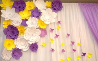 Большие цветы из бумаги для оформления зала