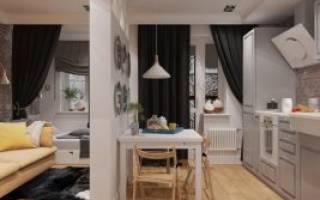 Кухня в студии 30 кв м фото