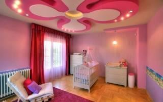 Натяжной потолок в детскую комнату для девочки